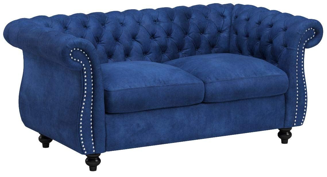 Christopher Knight Home Karen Traditional Chesterfield Loveseat Sofa, Navy Blue and Dark Brown, 61.75 x 33.75 x 27.75 by Christopher Knight Home