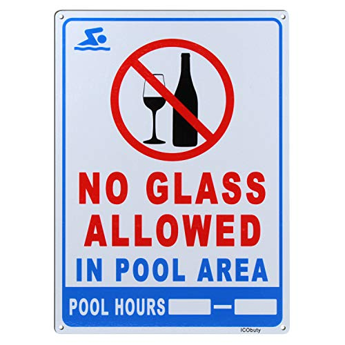 ICObuty Pool Rules Sign No Glass Allowed in Pool Area Sign Aluminum Sign Reflective Sign 10 x 14 Inch 40 Mil