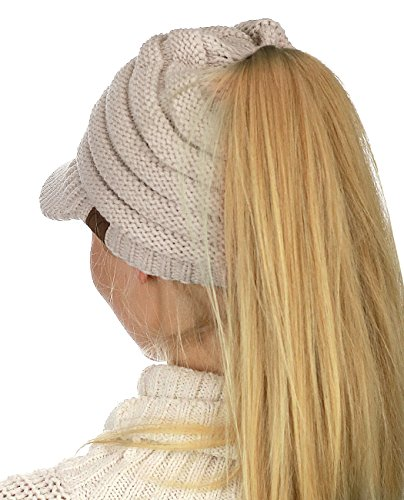 C.C BeanieTail Warm Knit Messy High Bun Ponytail Visor Beanie Cap, Beige