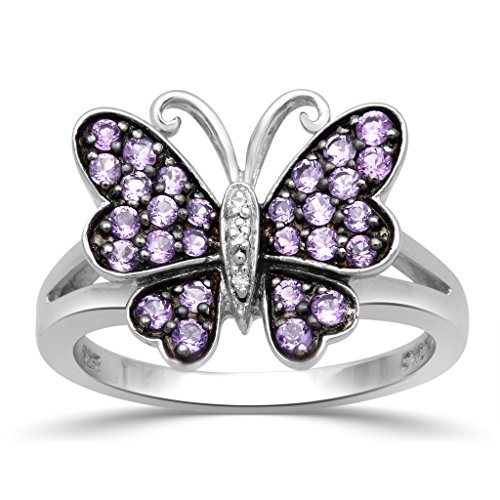 - Jewelili Sterling Silver Created Amethyst with Diamond Accent Butterfly Ring, Size 7