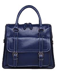 SAIERLONG Women's Cross Body Bag Handbag Tote sapphire blue Cow Leather - motorcycle bag Burnished Soft surface