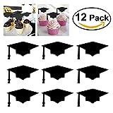 OUNONA 12pcs Cake Toppers for Graduation 2017 Graduation Cupcake Decorations