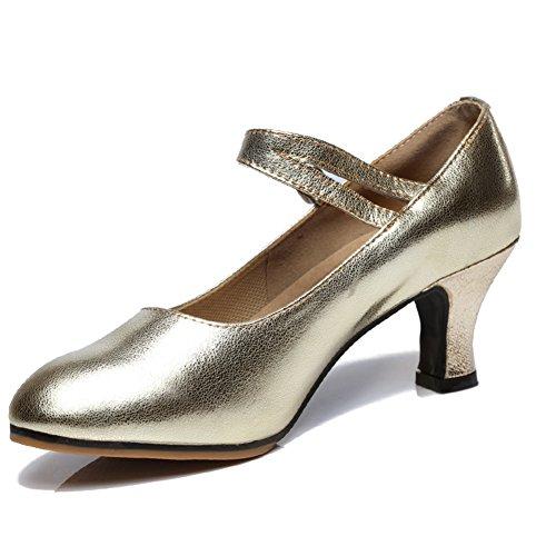 WYMNAME Mujeres Zapatos De Baile Latino,Tacones Mediados Fondo Blando Zapatos De Baile Sandalia Dorado