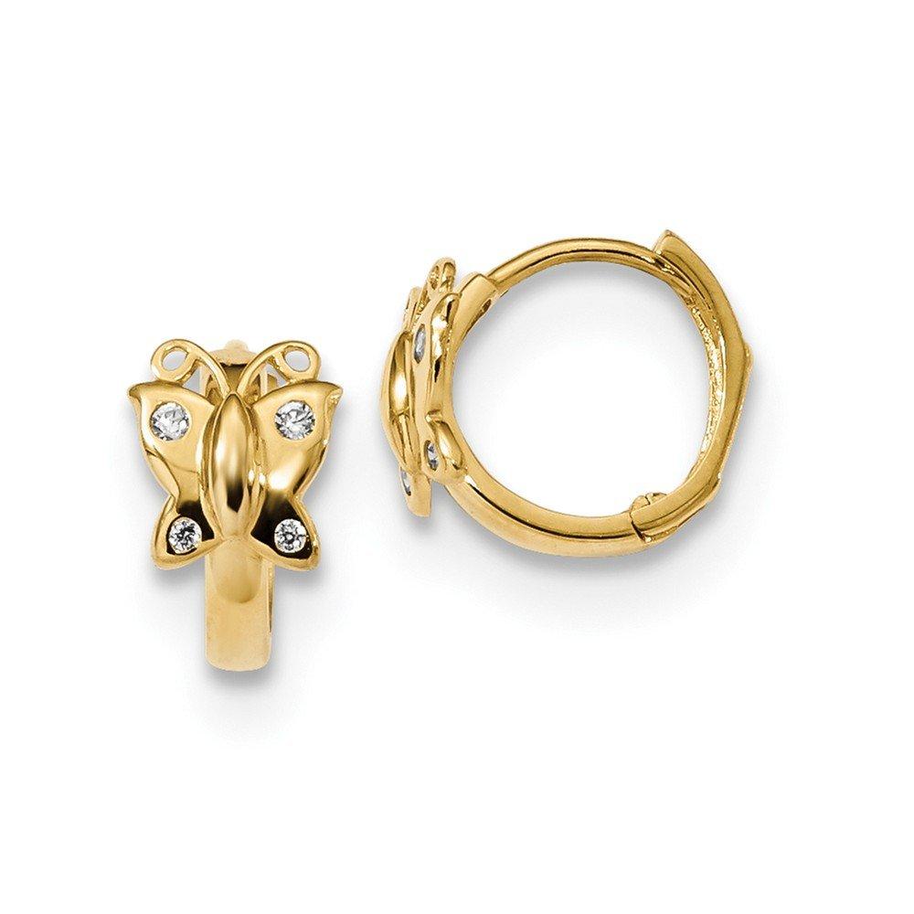 14K Yellow Gold Madi K CZ Butterfly Hinged Hoop Earrings