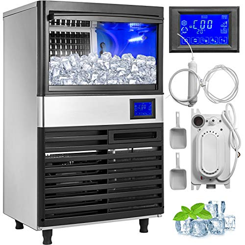 VEVOR 110V Commercial Ice Maker 132LBS/24H with 44LBS Storage Stainless Steel Commercial Ice Machine 5x9 Ice Tray LCD Control Auto Clean w/Water Drain Pump for Bar Home Supermarkets