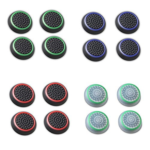 Fosmon [Set of 16] Analog Stick Joystick Controller Performance Thumb Grips for PS4 | PS3 | Xbox One | Xbox 360 | Wii U - Assorted (8 Pairs)