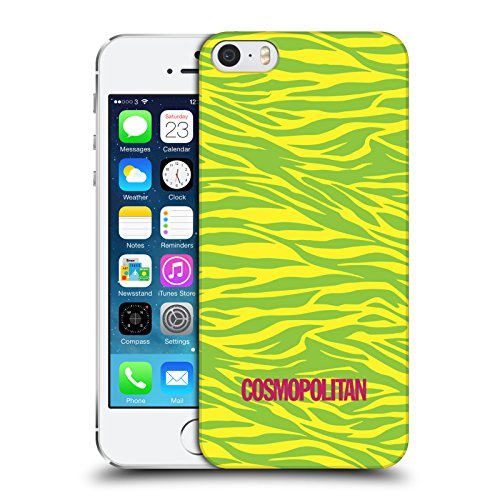 Official Cosmopolitan Yellow Green Zebra Animal Skin Patterns Hard Back Case for Apple iPhone 5 / 5s / SE