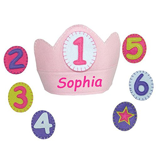Personalized Yearly Birthday Girl Felt Crown Set with Changeable Numbers