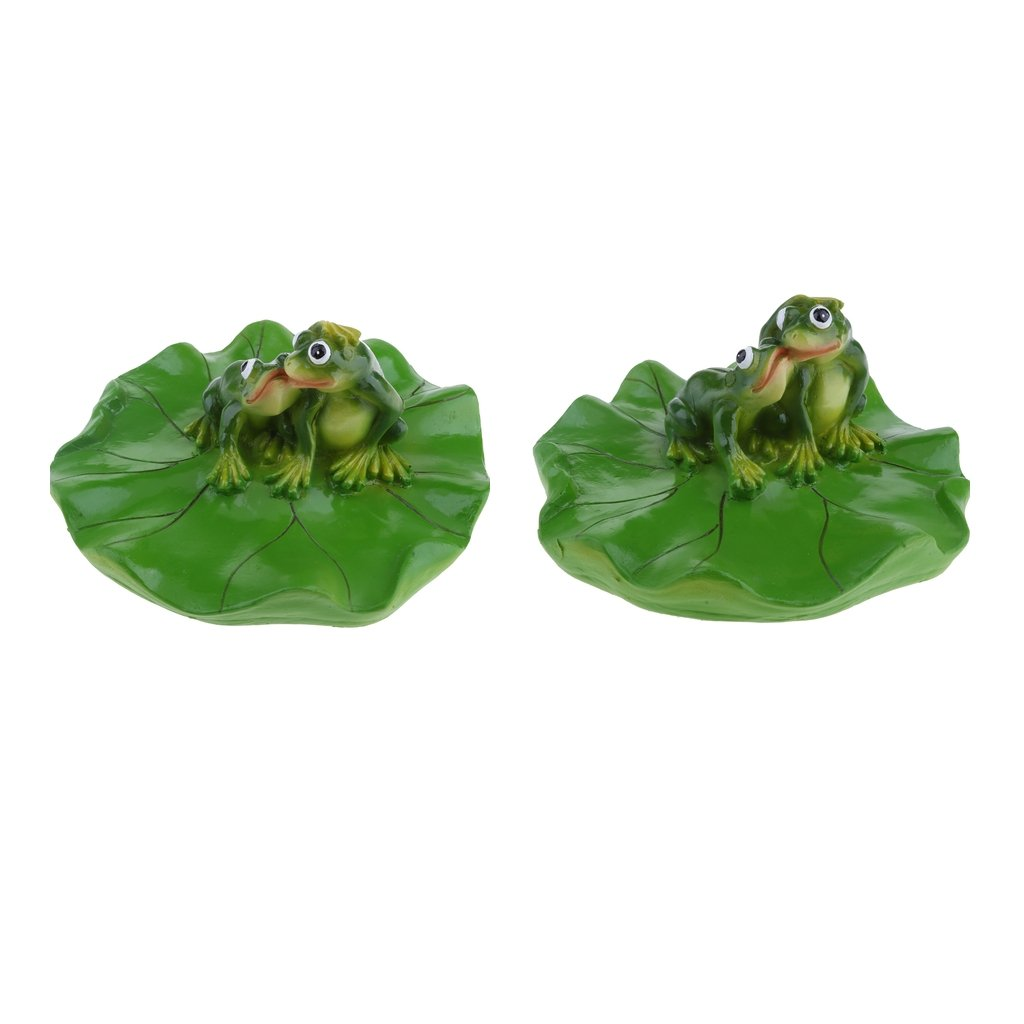 D DOLITY 2x Creative Animal Ornament Water Floating Kissing Frog on Lotus Leaf Figurine Resin Green Plants Kid Toys Fountain Decoration Garden Decor