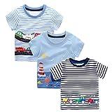 BEILEI CREATIONS Baby Boys T-Shirt Cartoon Cotton Kids Summer Tops 3Pack (4T, Cars/Ship/Striped Cars)