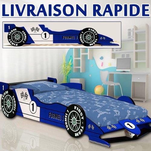 Lit enfant voiture F1 RACER Bleu lit enfant garcon auto chambre ...