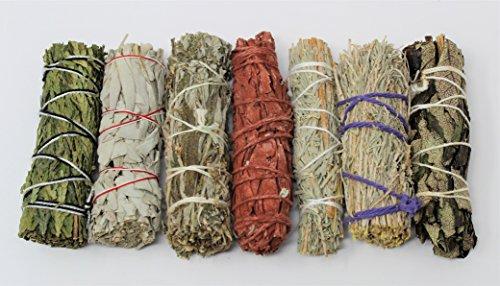 Rainbowrecords239 Set of 7 Sage Smudge Stick SAMPLER: White Black Blue Cedar Dragons Blood Desert Yerba Santa