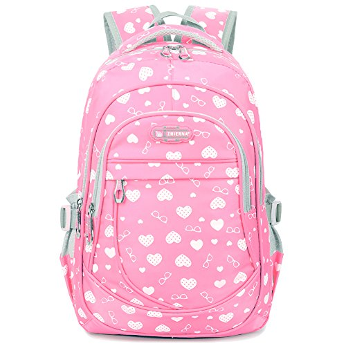 Heart Shaped Waterproof Backpack Laptop Bag for Junior Grade School Kids Girls (Dotted-heart Pink)