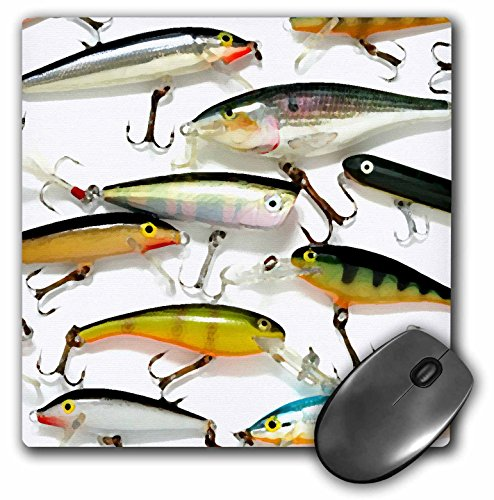 3dRose LLC 8 x 8 x 0.25 Inches Mouse Pad, Fly Fishing Lures (mp_3980_1)