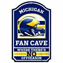 """NCAA Michigan Wolverines Fan Cave Wood Sign, 11"""" x 17"""""""