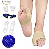 Bunion Corrector and Bunion Relief Care Kit for Tailors Bunion, Hallux Valgus, Big Toe Joint, Hammer Toe, Toe Separators Spacers Straighteners Splint with Foot Massage Ball