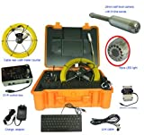 30m /100ft cable portable handheld sewer drain rigid pipeline inspection camera with 512hz sonde and meter counter function