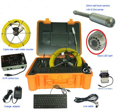 (30m /100ft cable portable handheld sewer drain rigid pipeline inspection camera with 512hz sonde and meter counter function)