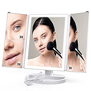 Lighted Makeup Mirror, Cambond Trifold Vanity Mirror with Touch Screen 4 Sides LED Light Bars and 2x/3x Magnifications, 180 Degree Free Rotation Countertop Cosmetic Mirror (White)