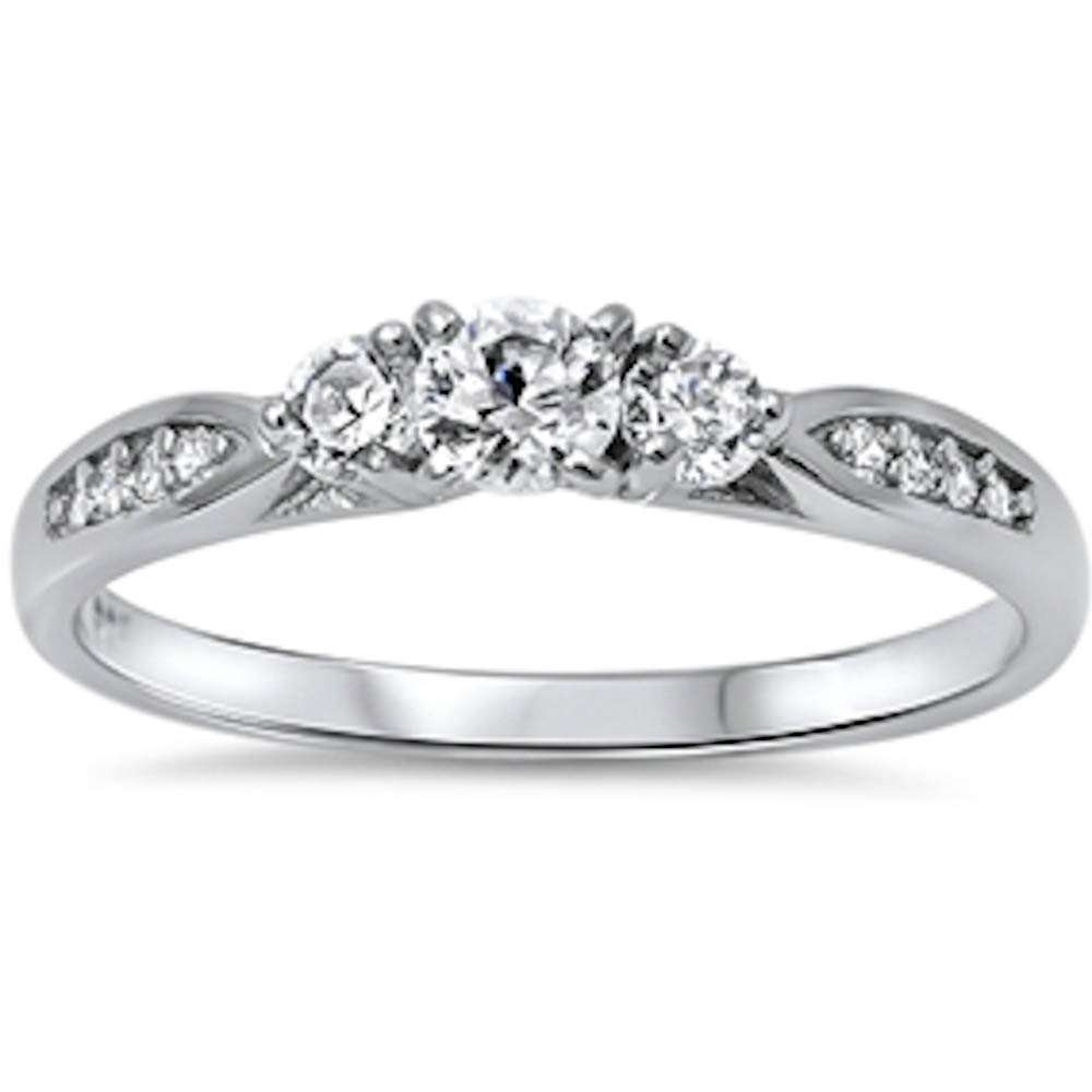 Cubic Zirconia Fashion Promise .925 Sterling Silver Ring Sizes 7