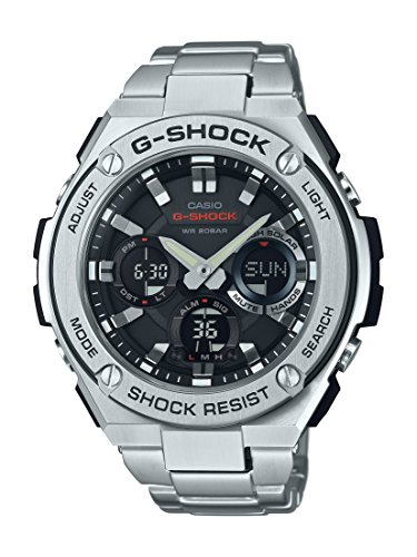 Casio Men's 'G Shock' Quartz Resin and Stainless Steel Casual Watch, Color:Silver-Toned (Model: (World Timer Stainless Steel Chronograph)