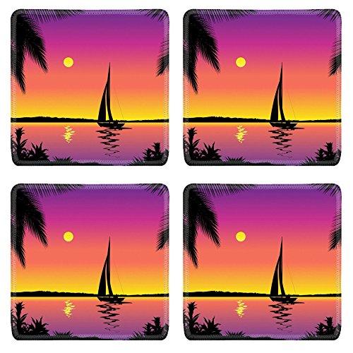 Luxlady Square Coasters Non-Slip Natural Rubber Desk Coasters Tropical sea view with sailboat IMAGE ID 4960819