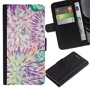 Sony Xperia Z1 Compact / Z1 Mini / D5503 Modelo colorido cuero carpeta tirón caso cubierta piel Holster Funda protección - Flower Chrysanthemum Summer Petal