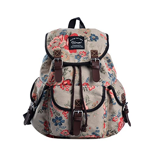 DGY Canvas Backpack / Nylon Backpack Floral Backpack Print Cute Backpack for Teen Young Girls (Khaki 297A)