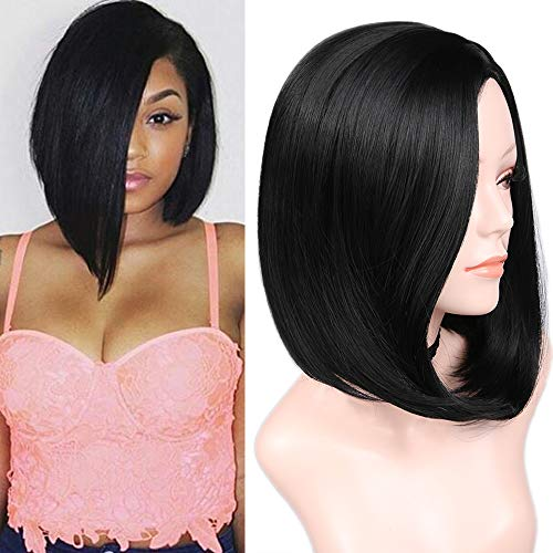 Quick Wig 14 inch Black Short Bob Wigs Straight Hair Wig Side Part Bowl Cut Cosplay Wig Heat Resistant Natural Looking Synthetic Full Wigs for Women(Natural Black)]()