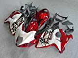 White with Candy Red Complete Fairing Bodywork Aftermarket Painted ABS plastic Injection Molding Kit for 1999-2007 Suzuki GSXR GSX-R 1300 Hayabusa 2000 2001 2002 2003 2004 2005 2006