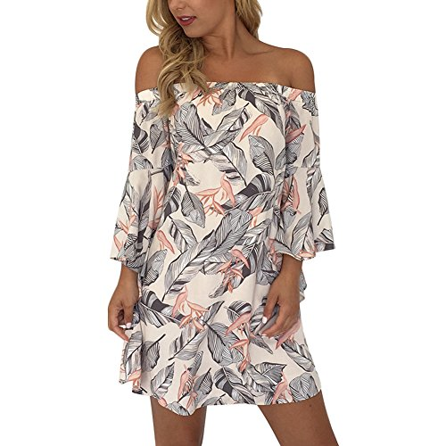 YNYNEW Womens Boho Hollow Out Off Shoulder Floral Beach Mini Dress (Asia M/US 6-8)