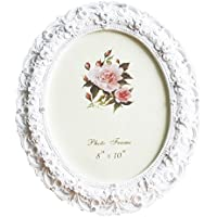 Telisha Retro Style White Rose Flower Oval Home Photo Frame Picture Frame Resin 8 X 10 Large