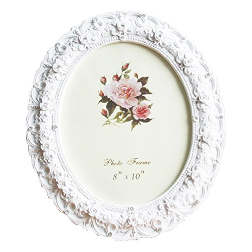 8x10 Inch Oval Picture Frame Photo Frame White Rose Flower Home Decorative Tabletop Wall Mounting Resin Large - Picture Frame Baby Oh