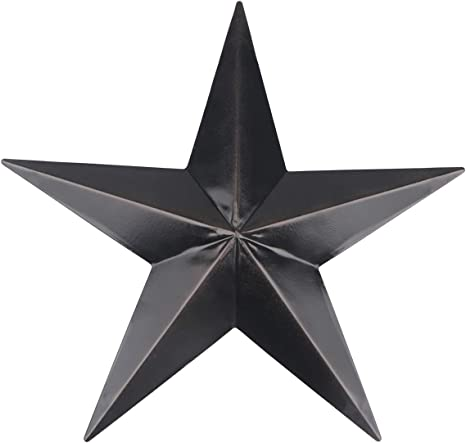Yiya Barn Star Distressed Metal Star For Living Room Dormitory Home Decoration Outdoor Decoration Farmhouse Wall Art Decoration Black 30 Cm 12 Everything Else