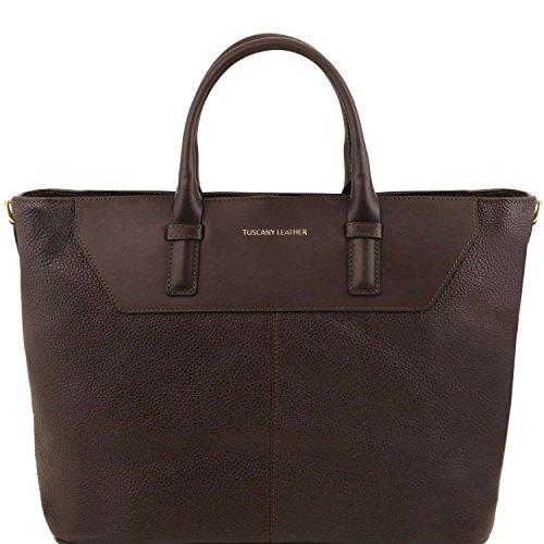 Tuscany Leather - Irene - Sac à main en cuir souple avec bandoulière - Marron foncé