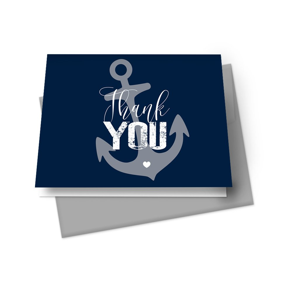Nautical Thank You Cards with Grey Envelopes - Set of 20 - Folded Note – Baby Shower, Wedding