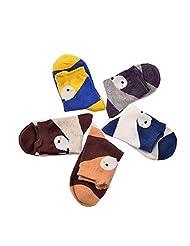 5 Pairs Emmas Style 3D Cartoon Children Cute Cotton No Seams Socks