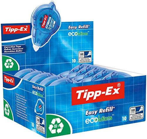 Tipp-Ex Korrekturroller ECOlutions Easy refill, nachfüllbar, 14 m x 5 mm, Displaybox à 10 Stück