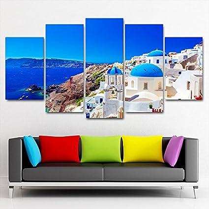 Karen Max Home Deko-Modern Poster Modular Leinwand Bilder 5/St/ück /Äg/äis Sea View Gicl/ée-Druck Rahmen Dekoration Wand Art Prints Size 1:8x14inx2,8x18inx2,8x20inx1