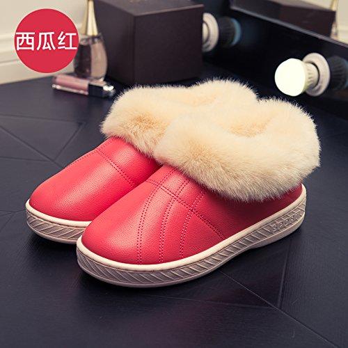 LaxBa Femmes Hommes Chaussures Slipper antiglisse intérieur rouge pastèque 34/35