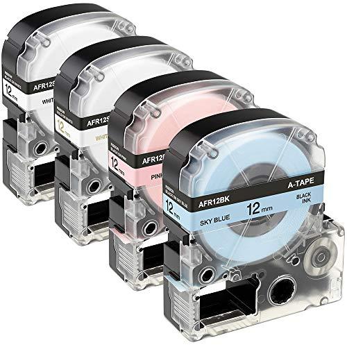 4 Pack Color Ribbon LK (LC) Label Tape Cartridges Replacement Epson LabelWorks LK-4LBK LK-4PBK LK-4WKK LK-4WBK for Epson LW-300, LW-400 LW-700, 1/2 inch X 16.4 feet Roll, SkyBlue/Pink/White