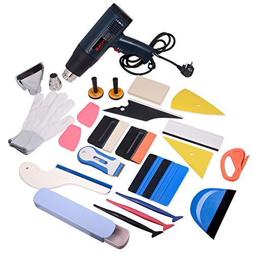 WINJUN Auto Vinyl Wrap Tool Kit for Vehicle Glass Protective Film Window Wrapping Tint Installing - Include: Squeegees, Scraper, Magnet Holders, Gloves, Film Cutters, Heat Gun ()