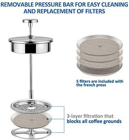 KYG Cafetière à Piston French Press en Acier Inoxydable Isolation Thermique Permanent pour Café Thé avec 5 Filtres Recharges 1L