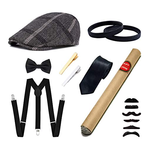 Ziyoot Men's 1920s Accessories Gatsby Gangster Costume Set Gangster Beret Y-Back Suspender (A 04 Black Gray) ()