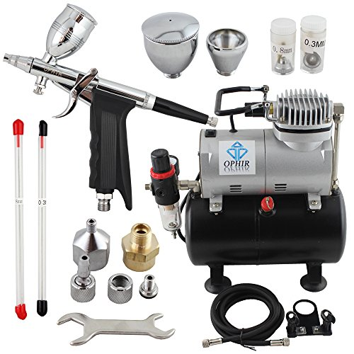 OPHIR Professional Airbrush Kit 0.3 0.5 0.8mm Detail Touch-Up Auto Paint 110V Air Compressor Tank for Hobby by OPHIR