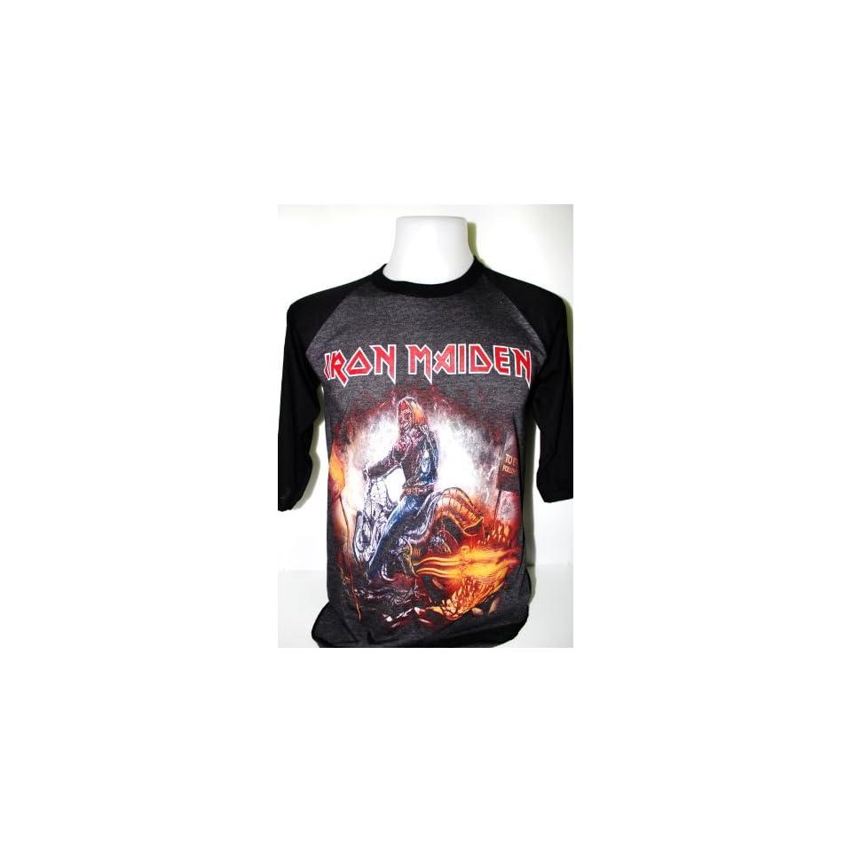 Iron Maiden Heavy Metal Rock Band Tour 3/4 Baseball Jersey T shirt Size M