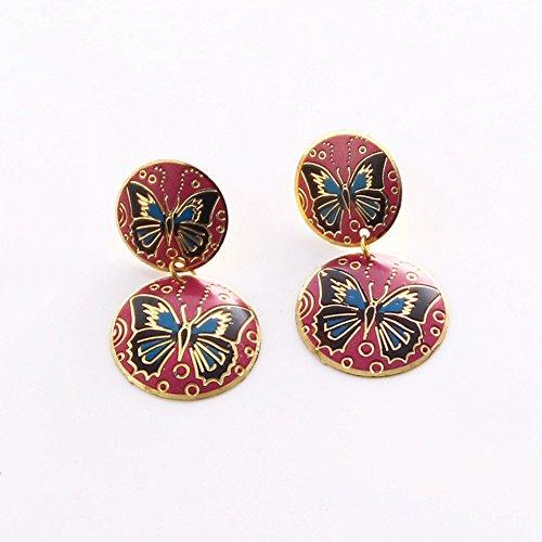 Metal Body Paint Kit Silver Costumes (Round Bronze Flower Butterfly Paint Earrings Women Fashion Ear Stud Clips Cuff)