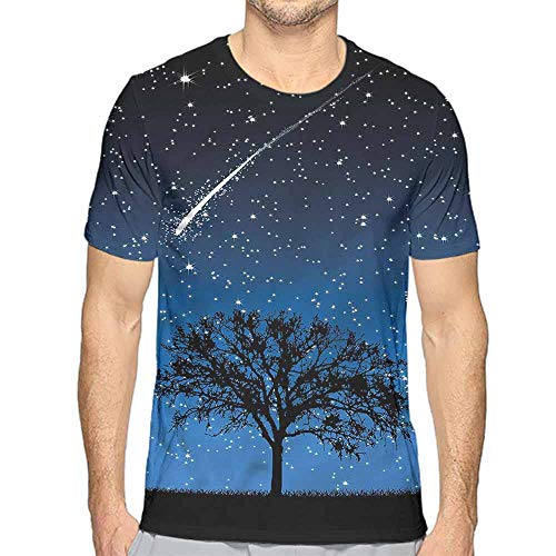 Funny t Shirt Star,Lone Tree Magical Sky Nature