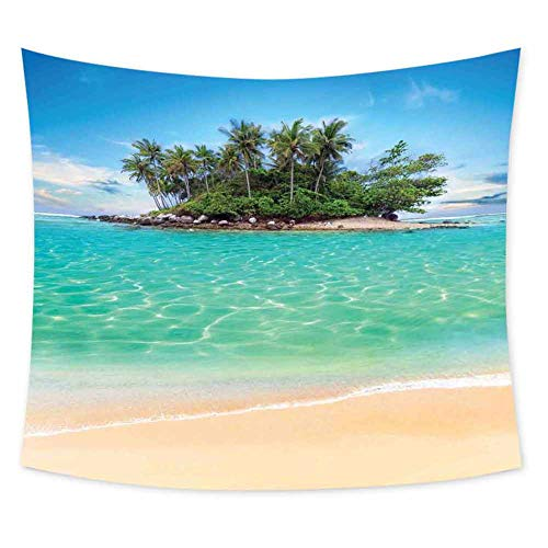 Luoiaax Island Boho Tapestry Wall Hanging Tropical Island Sandy Seaside Clear Water Honeymoon Destination Waterscape Colorful Tapestry Hippie Decor W59 x L51 Inch Cream Blue Green