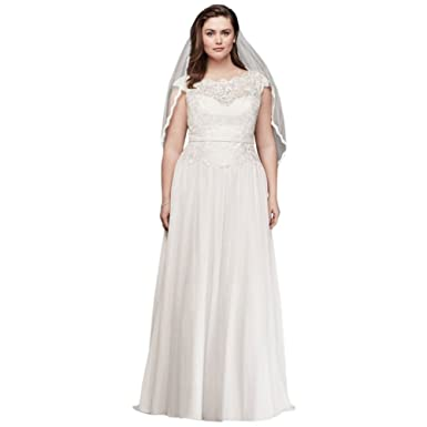 2a90d4c38b9 David s Bridal Illusion Lace and Chiffon Plus Size Wedding Dress Style  9WG3851